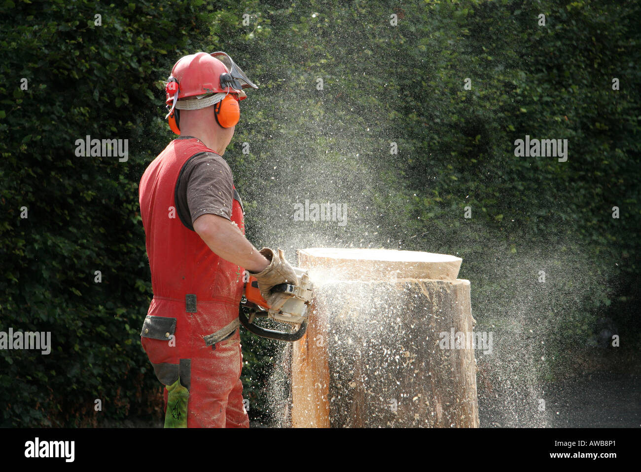 stock photo woodcutter with chain saw carving garden furniture from tree trunk glasgow uk - Garden Furniture Glasgow
