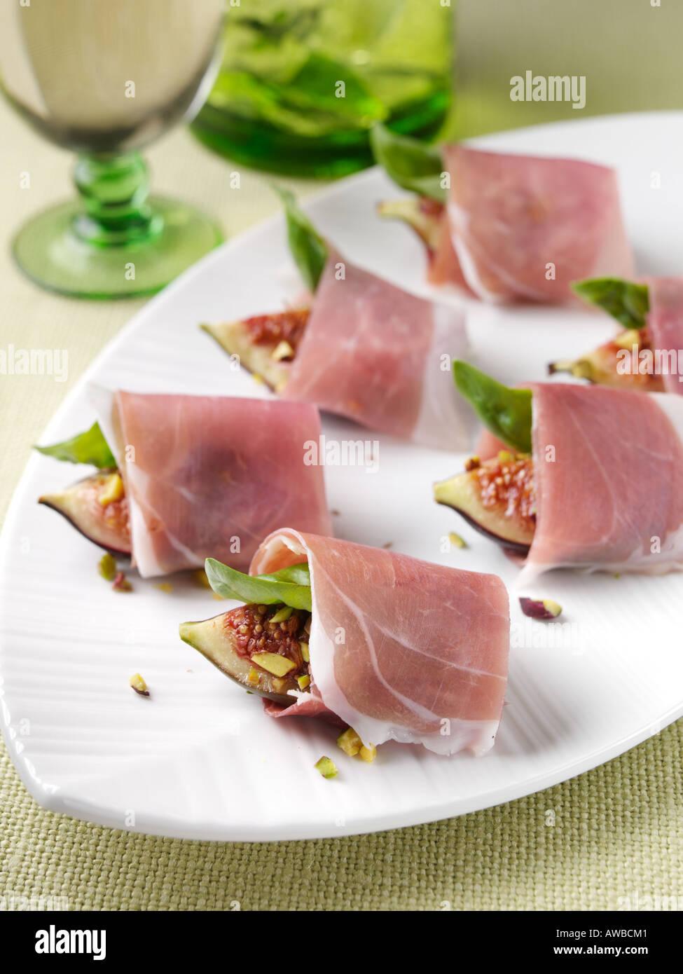 Roast fig prosciutto canapes stock photo royalty free for Prosciutto canape