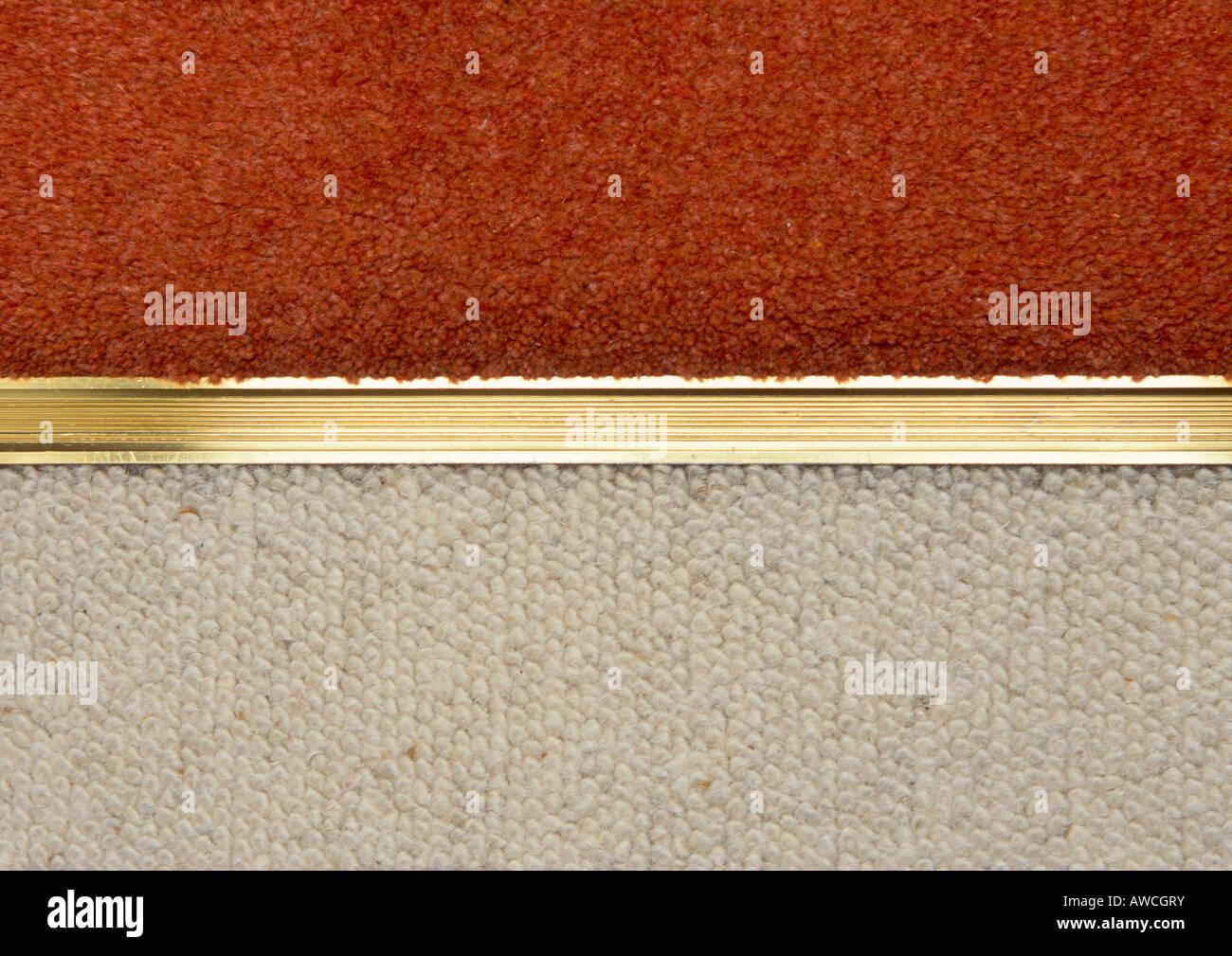 Gold Aluminium Carpet Edging Door Strip Between Red And Cream Carpets
