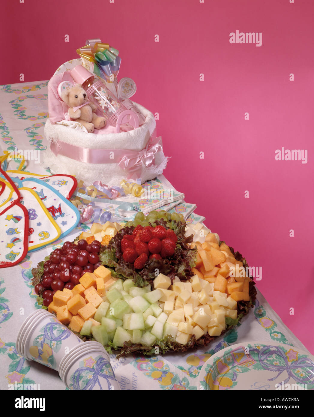 Baby Shower Party Food Assortment Gifts Cheese Fresh Fruit Platter Grapes  Strawberry Swiss Cheese Muenster Longhorn Red Green