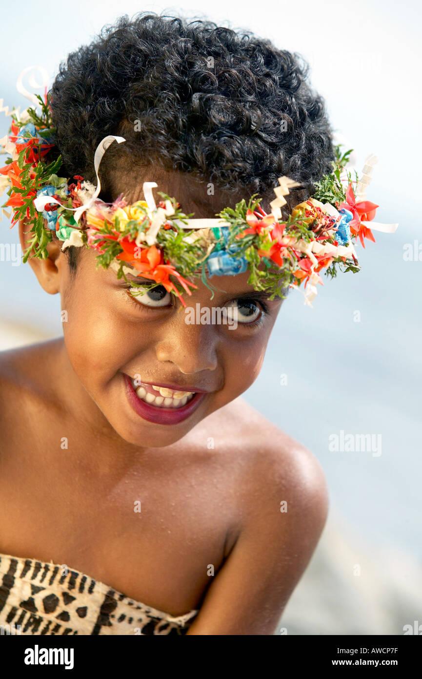Fijian Girls In Traditional Costume Sonaisali Island