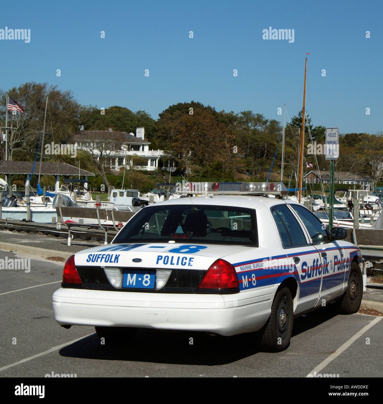 suffolk county marine bureau police car on bellport marina long stock photo royalty free image. Black Bedroom Furniture Sets. Home Design Ideas
