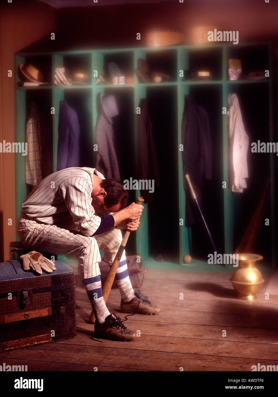 Baseball Player Old Fashion Unifrom Locker Room Spitoon Mystery Fantasy Editorial