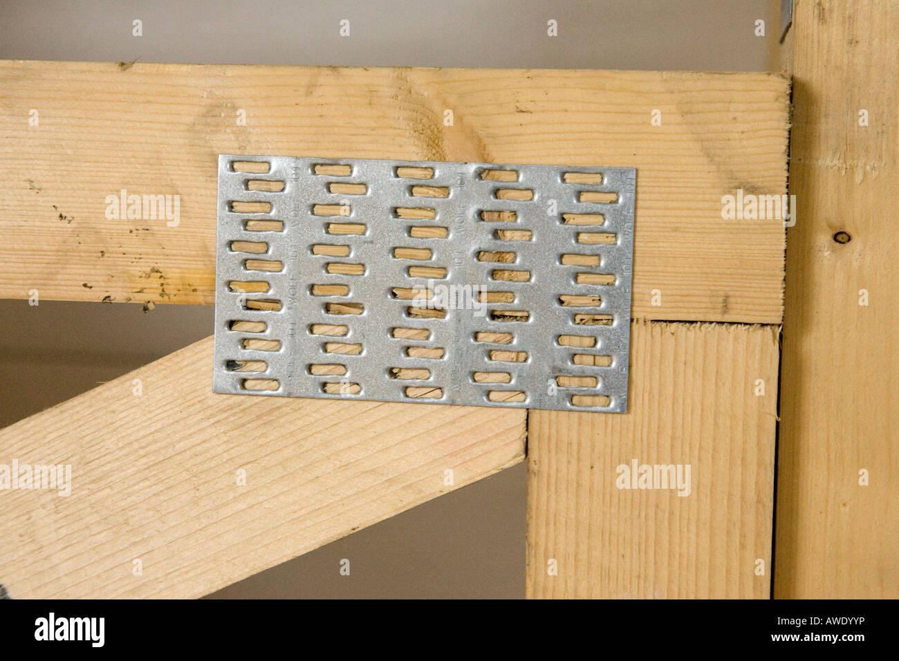 Gang Nail Plate Holding Timber Beams Together Stock Photo