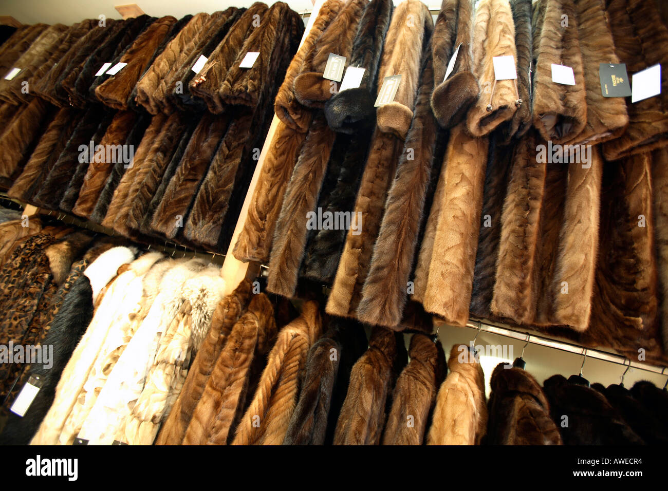 greece mainland halkidiki kassandra interior of shop selling fur ...