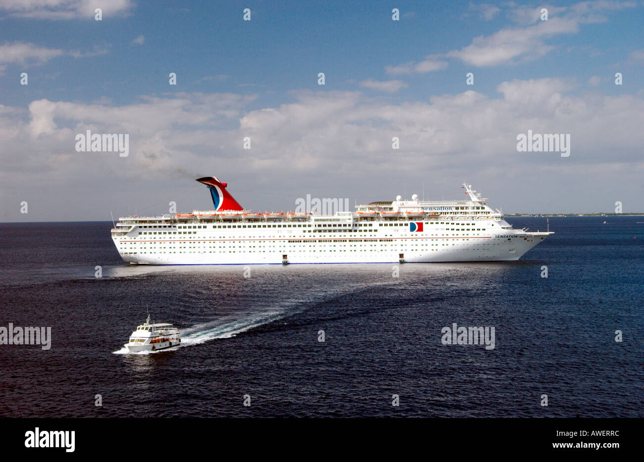 The Carnival Sensation Cruise Ship With A Tender Boat Off The - Sensation cruise ship pictures