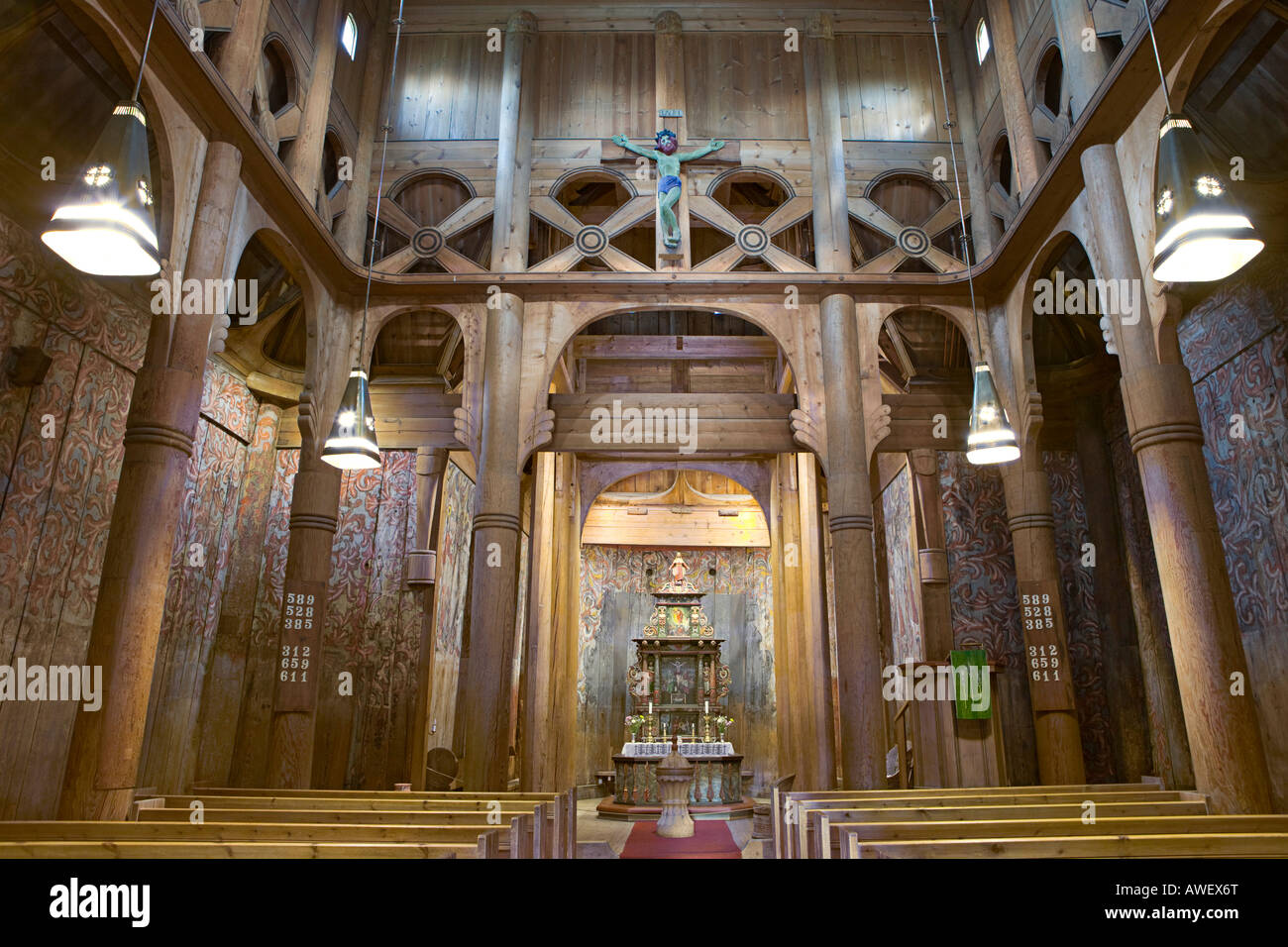Stock Photo - Interior view of Heddal Stave Church (Heddal Stavkirke ...