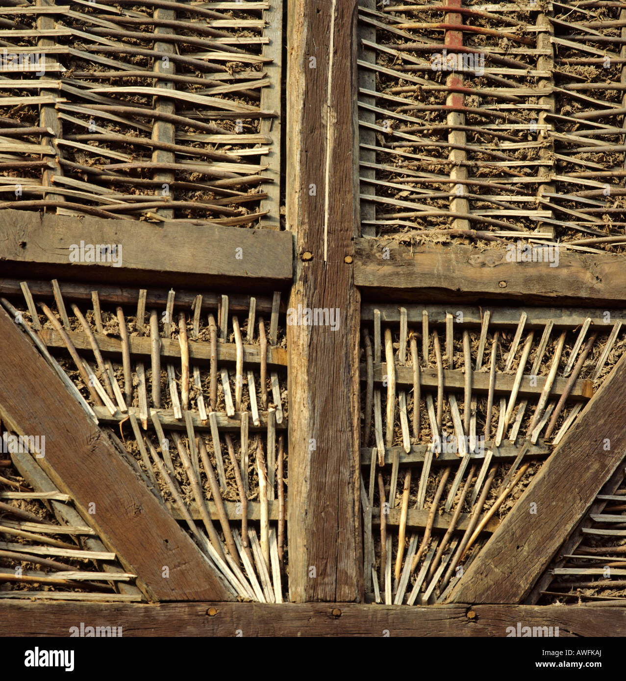 Detail shot woven willow on a fachwerk style house in for Niedersachsisches fachwerk