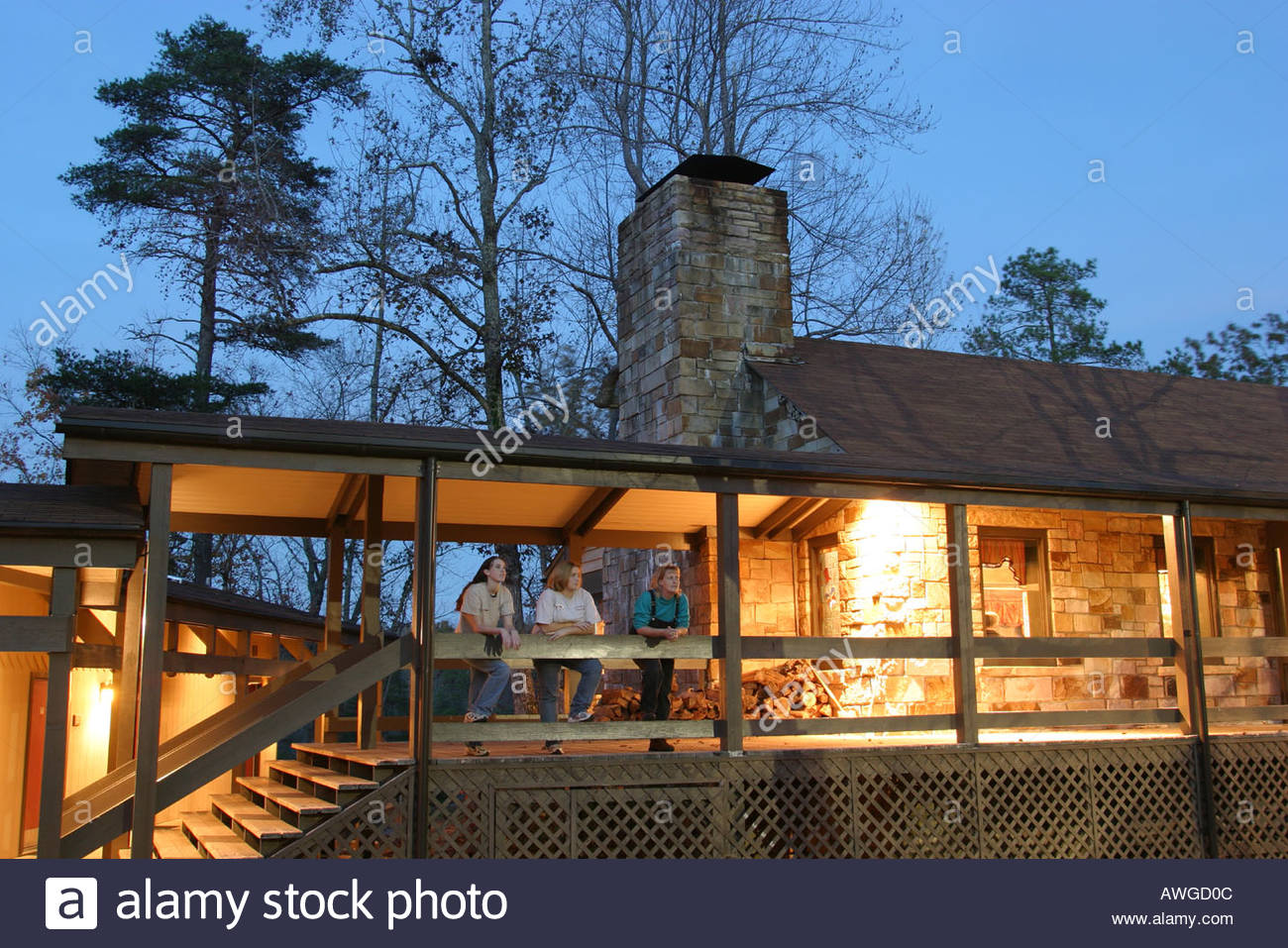 Alabama Lookout Mountain Fort Payne DeSoto State Park The Lodge Dusk  Visitors