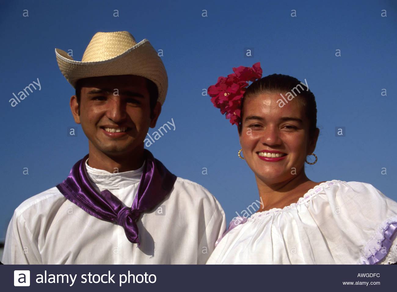 Costa rica central america puerto caldera folklore dancers costumes