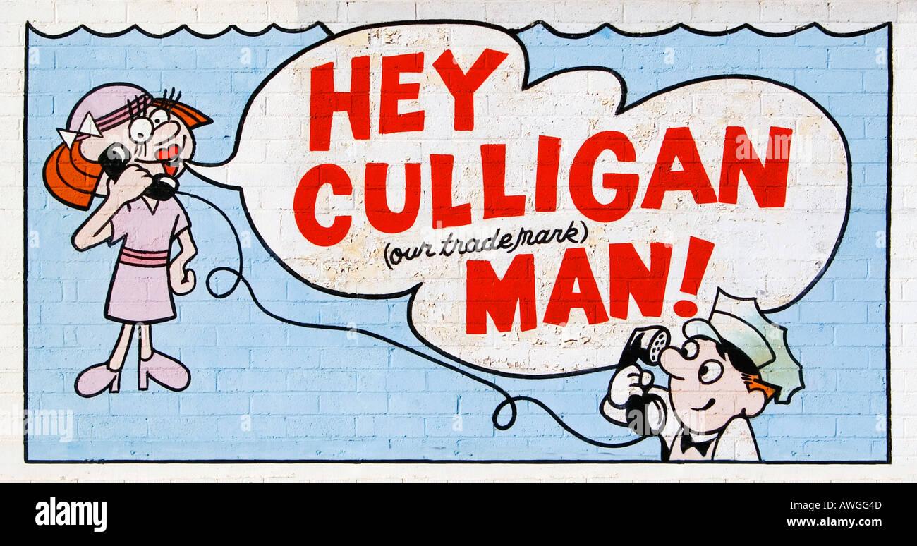 Hey culligan man sign on a cement wall located in yuma arizona