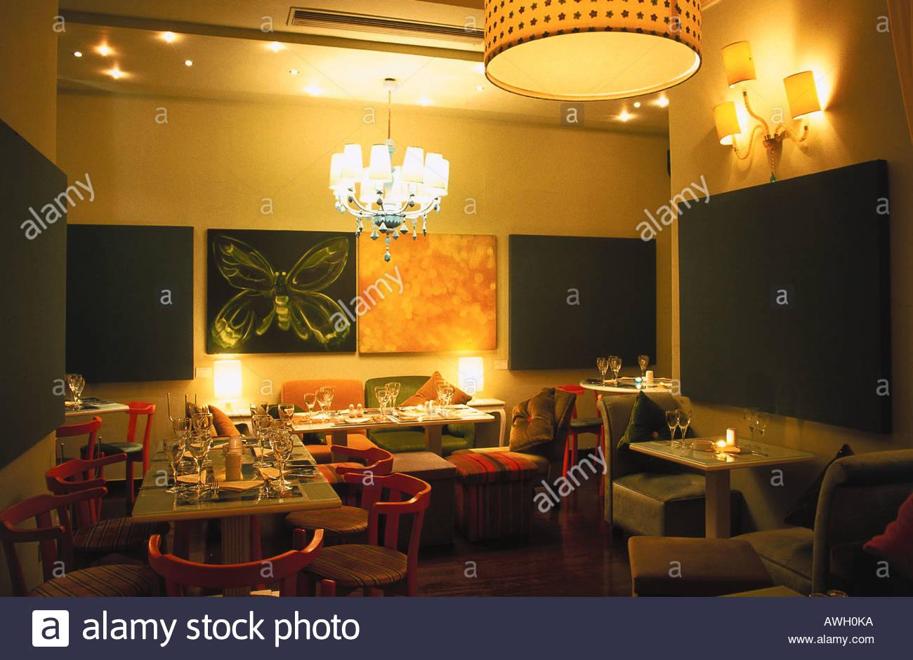 Greece, Athens, Kolonaki, Delfon 4, Mommy, tables set for dining ...
