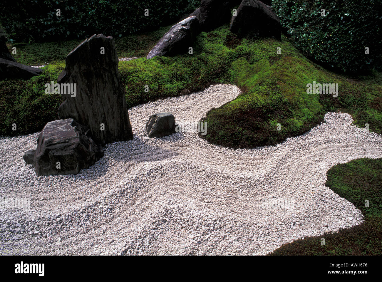Marvelous Rock Gravel And Moss Are The Main Components Of The Zen Garden Of Zuiho In  Temple Kyoto Japan