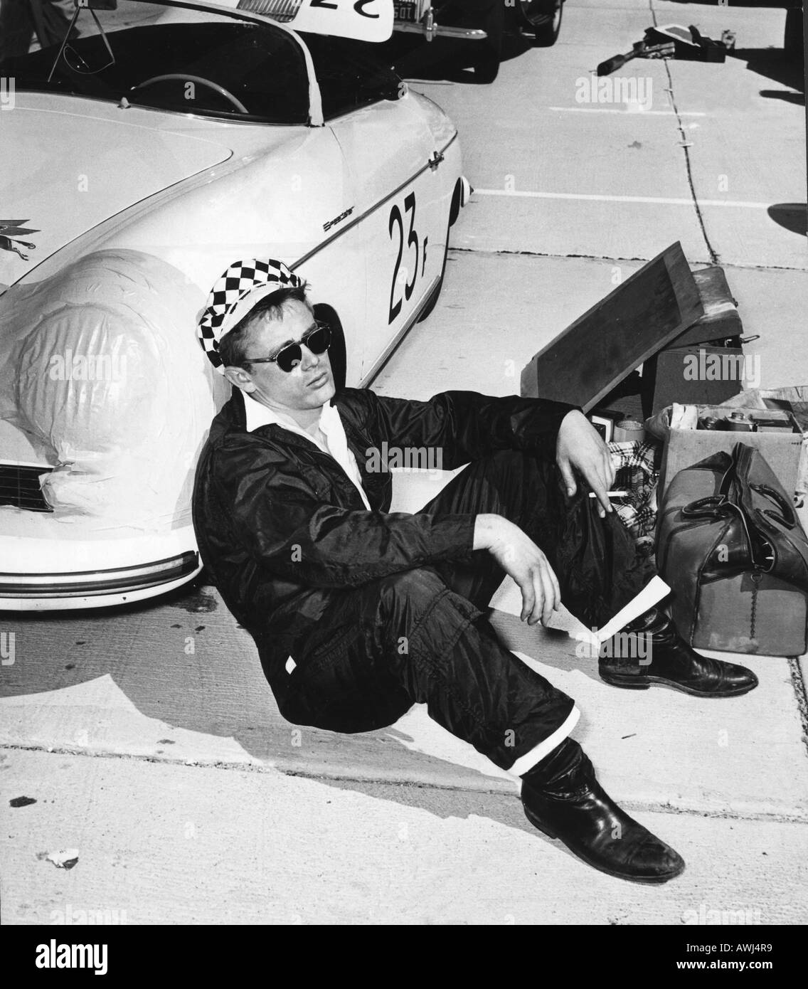 James Dean With His Porsche 550 Spyder Speedster At A