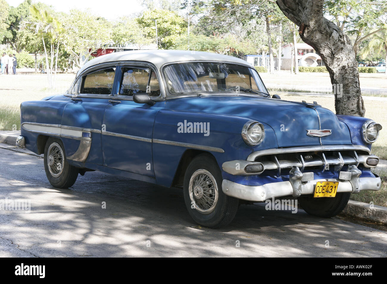 car Cuba street Holguin old antique driving Chevrolet Chevy blue ...