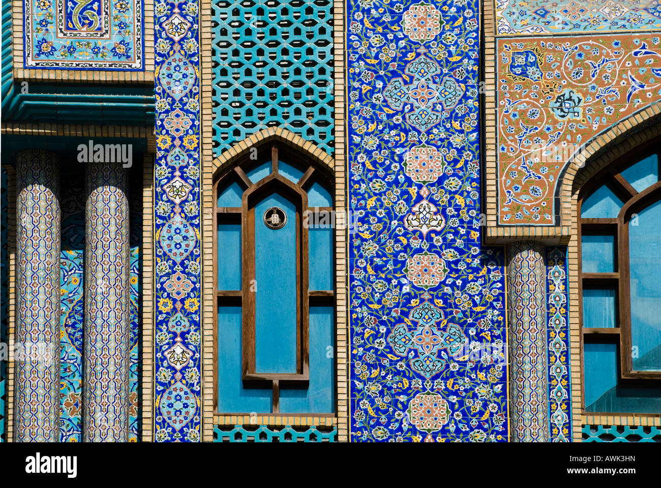 Arab patterns in ceramic tiles stock photos arab patterns in persian tile mosiac work on the iranian mosque in dubai uae stock image dailygadgetfo Image collections