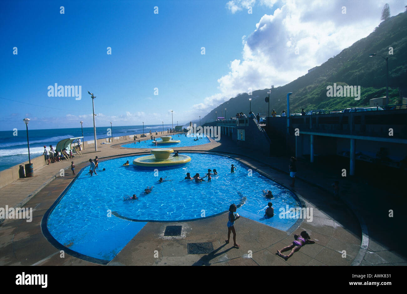 Swimming pool on beach brighton beach durban kwazulu natal south stock photo royalty free for Swimming pool covers south africa
