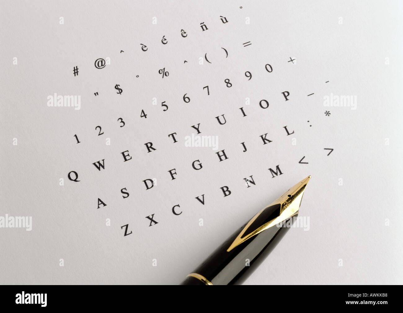 numbers and letters printed on paper tip of fountain pen stock