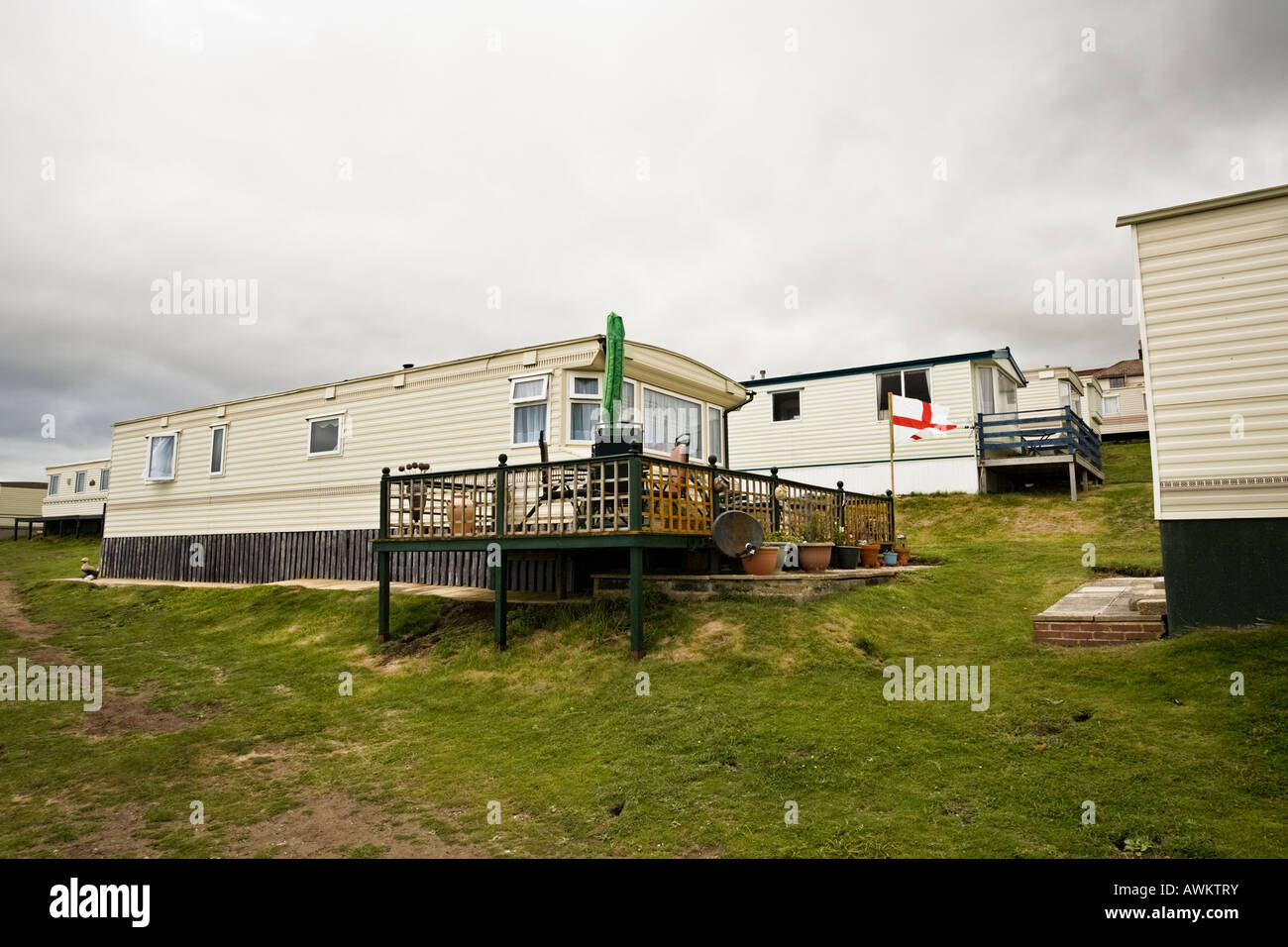 Traditional British Mobile Home Or Static Caravan Holiday Park