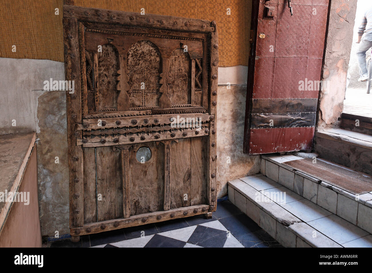 beautiful old wooden door exhibit at maison tiskiwin private museum stock photo royalty free. Black Bedroom Furniture Sets. Home Design Ideas