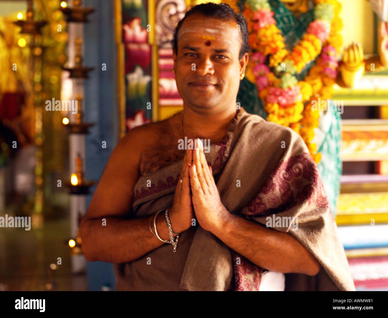Mauritius Hindu Priest Namaste Hindu Greeting at Tamil ...