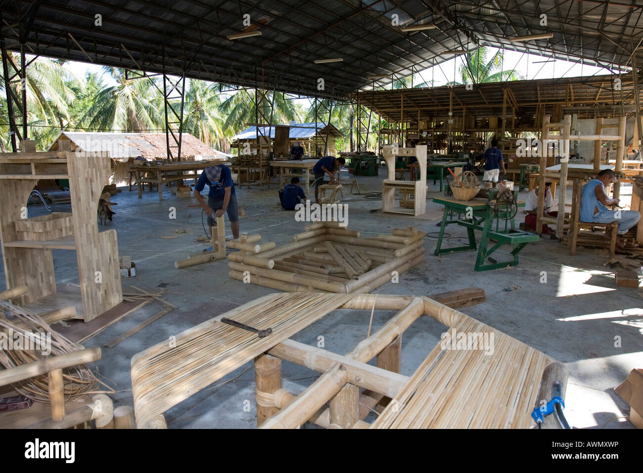 Bamboo Being Processed At A Furniture Factory In Negros The Stock Photo 16617297 Alamy