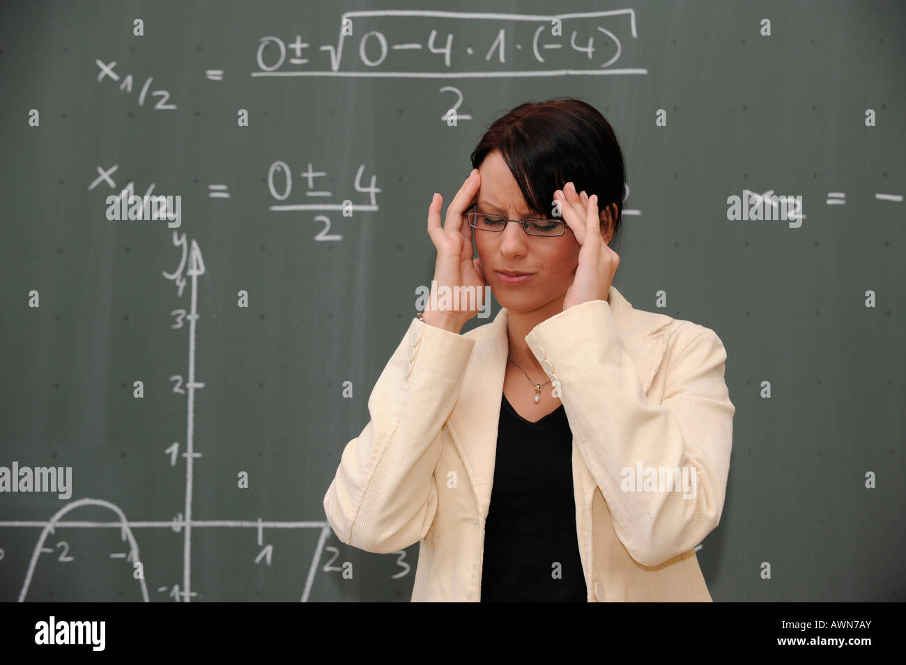 Young female teacher stressed out Stock Photo, Royalty Free Image ...