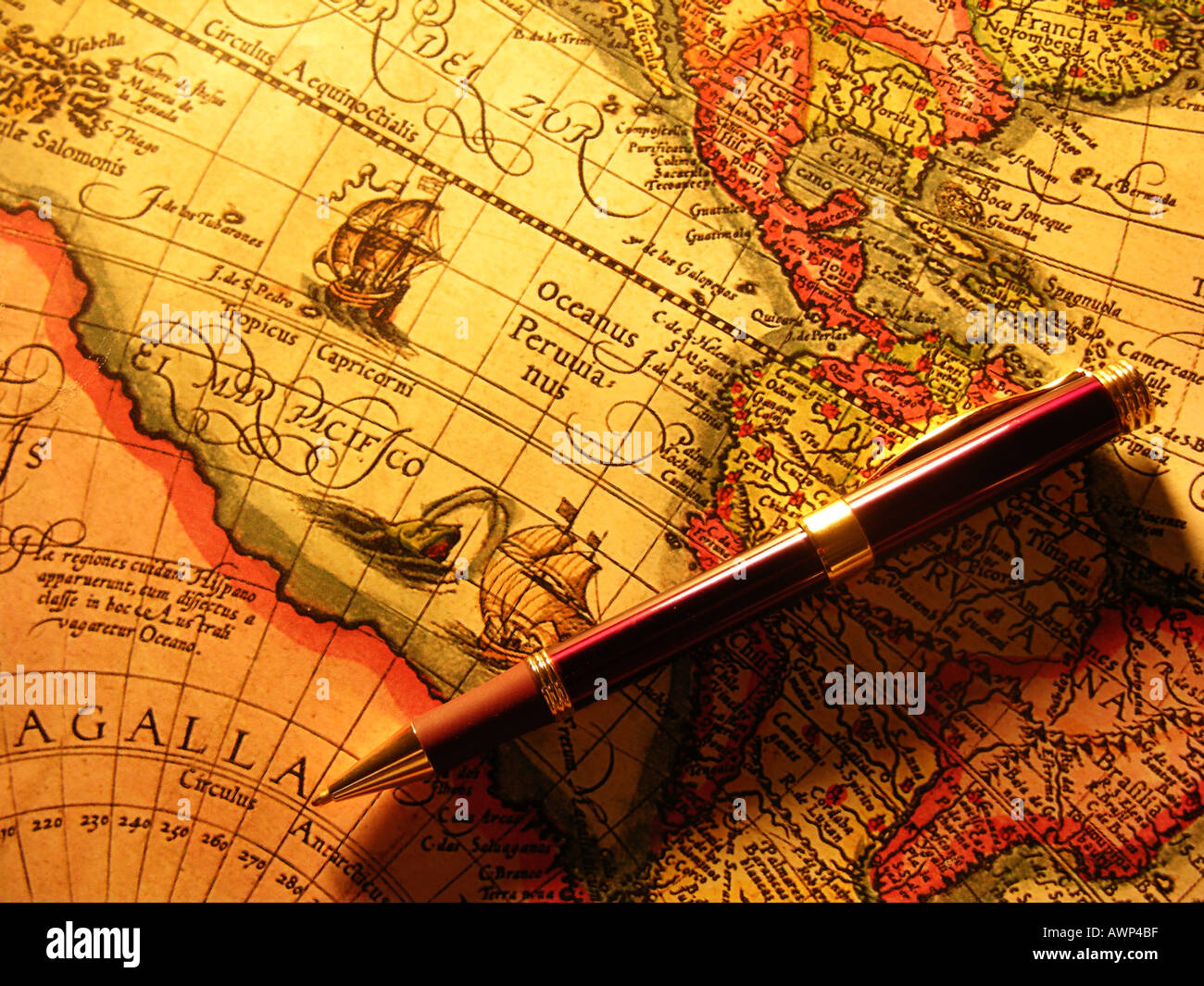 Pen on old world map stock photo royalty free image 3089598 alamy pen on old world map sciox Images