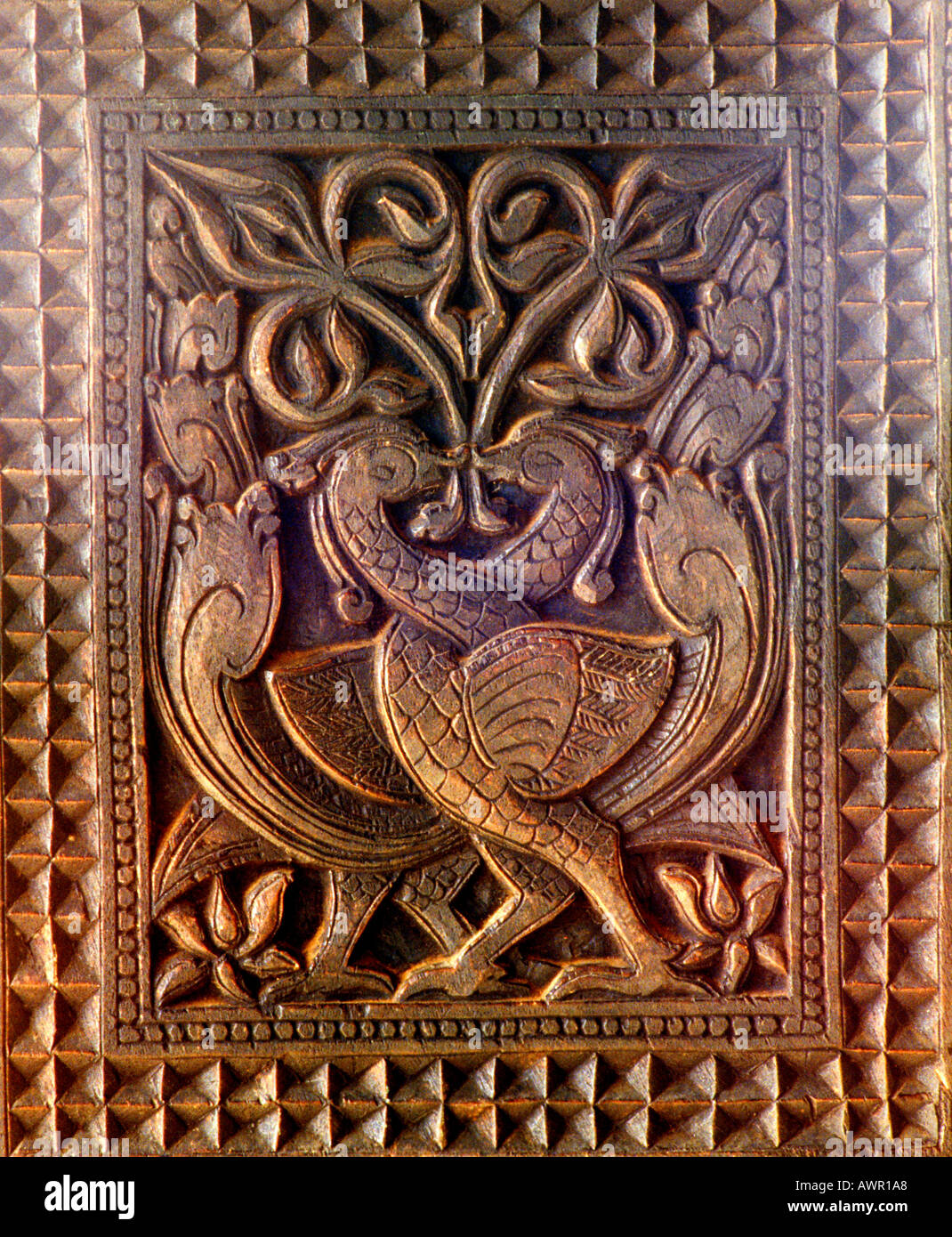 Birds entwined sri lanka wood carving on supporting temple