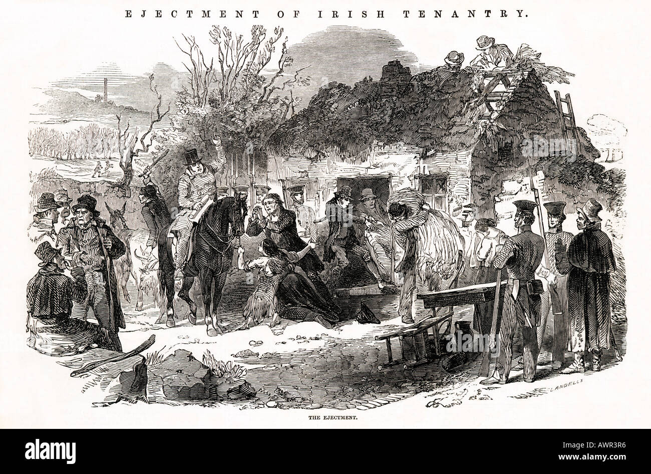 Evictions Of Irish Tenantry The Ejectment 1848 Engraving An Peasant Family Evicted From Their Cottage
