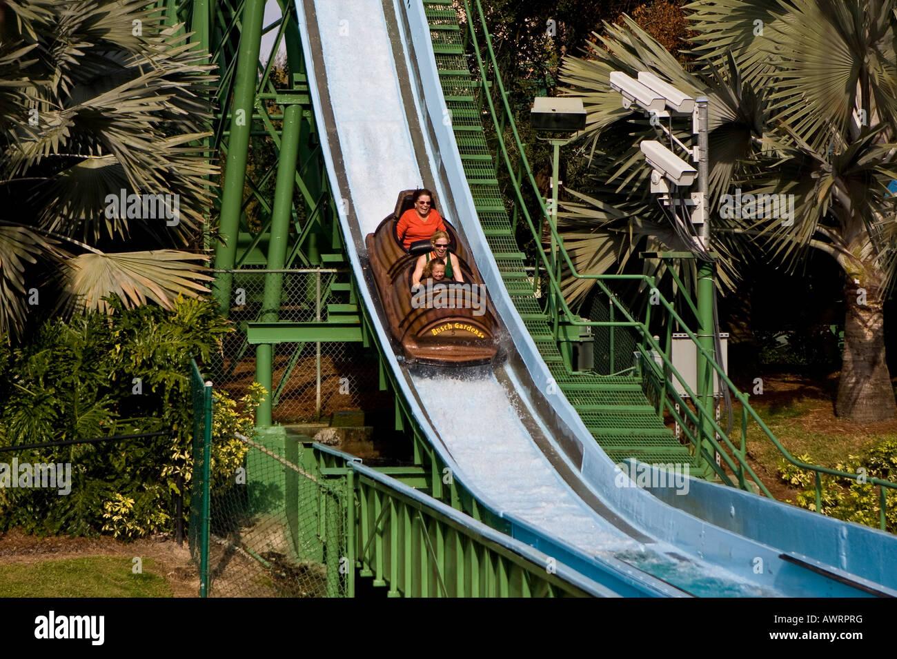 Log Flume Ride At Busch Gardens Florida Usa Stock Photo
