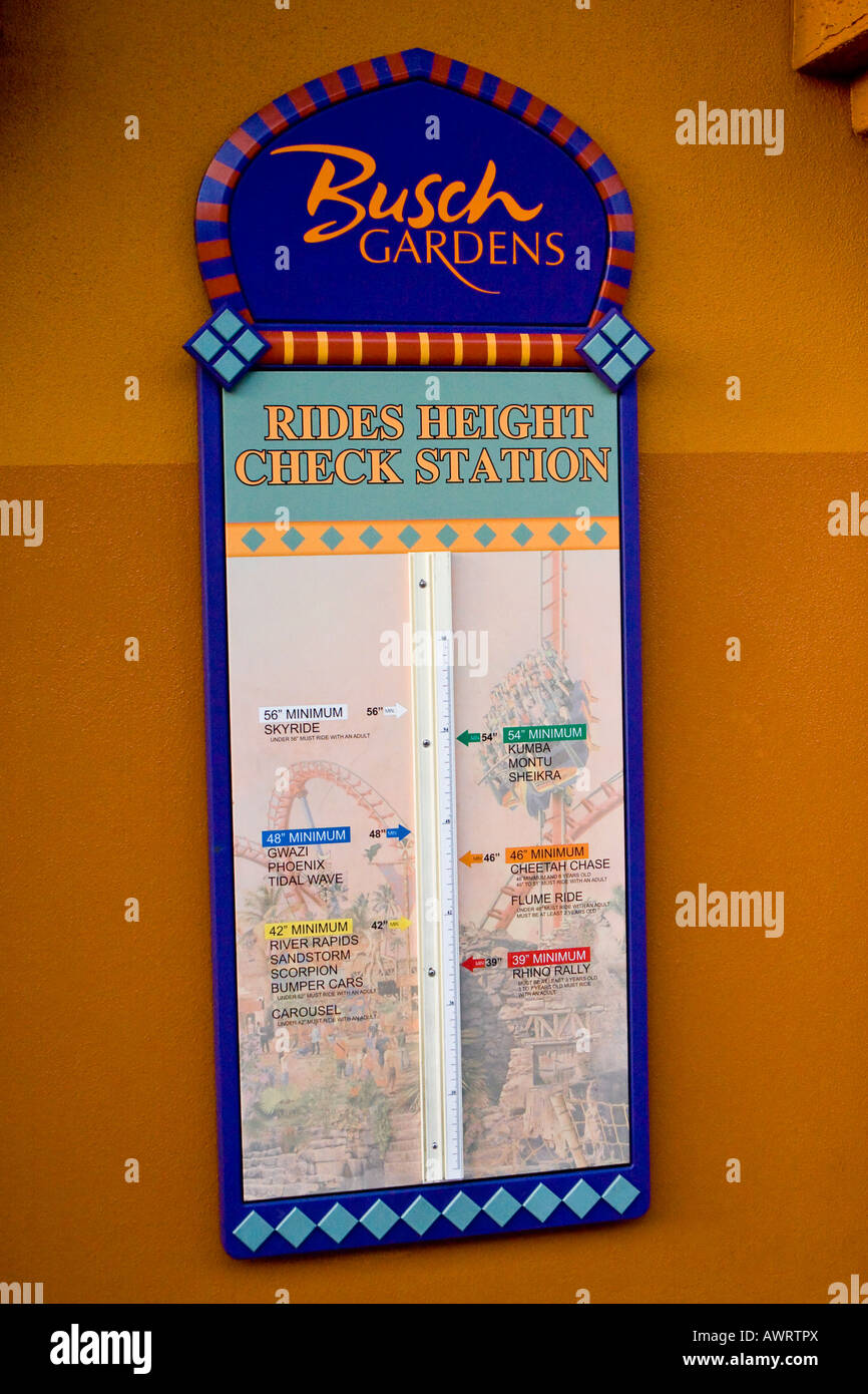 Busch gardens rides height check station sign stock photo - Busch gardens rides height requirements ...
