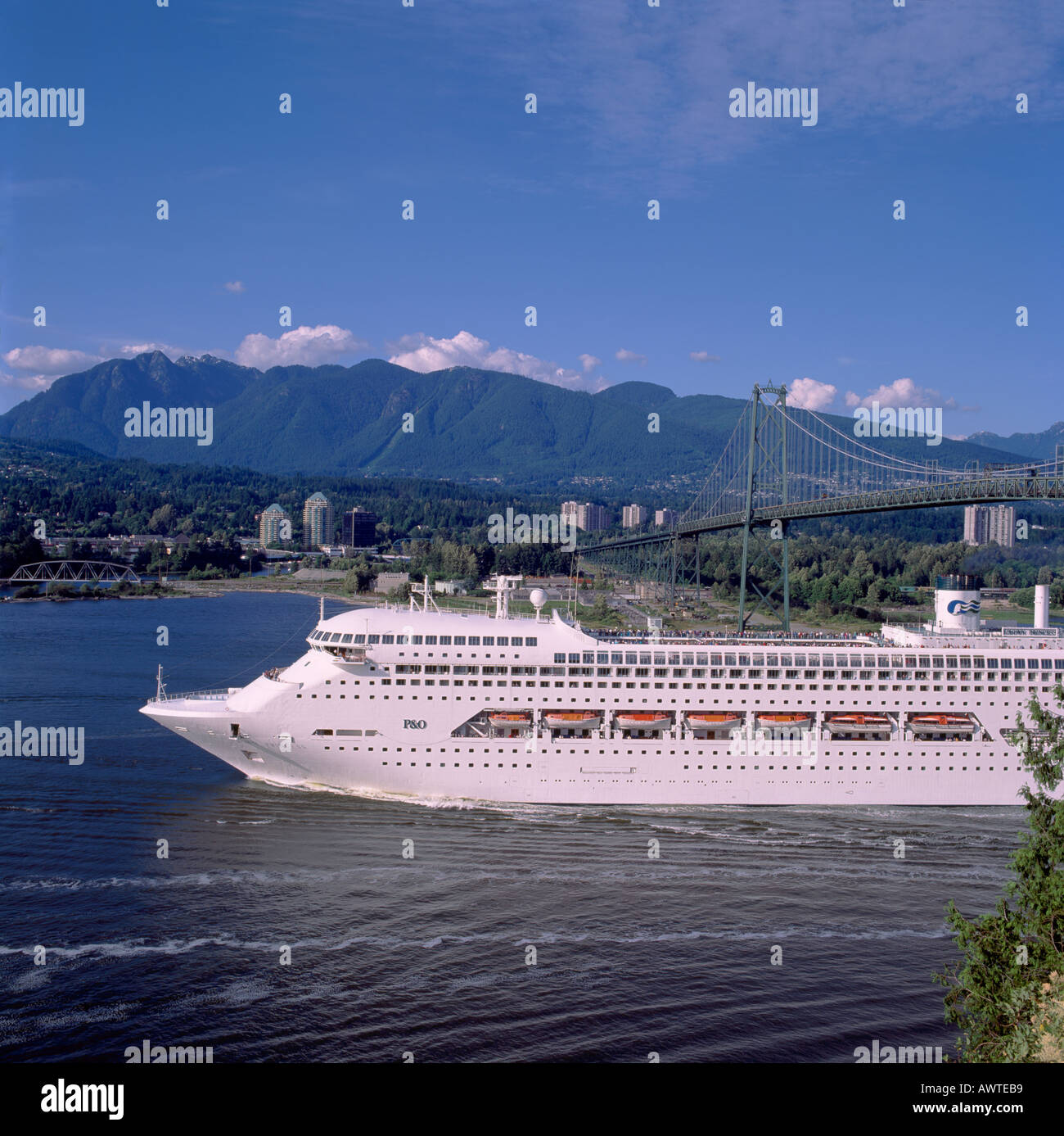Cruise Ship Under Lions Gate Bridge Leaving The City Of Vancouver - Cruise ship route vancouver to alaska