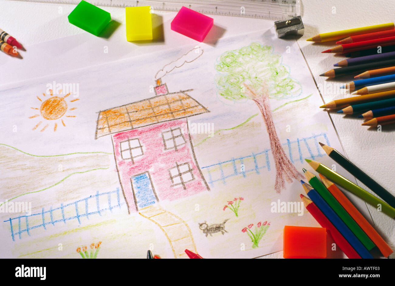 Childlike drawing of a house with coloured pencils and crayons
