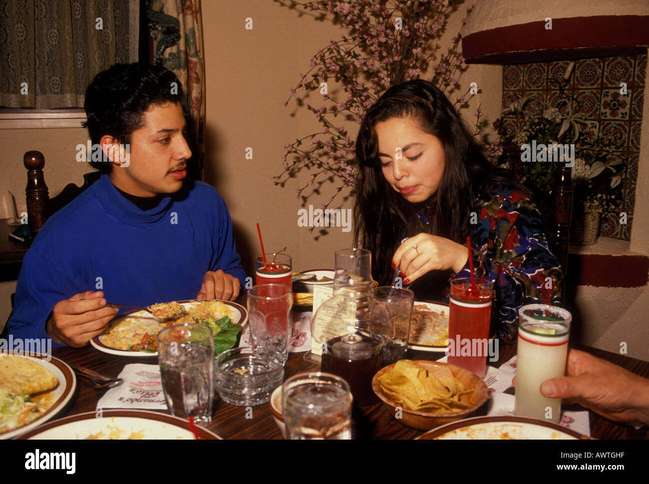 Guatemalan People Brother And Sister Dining At Mexican Restaurant In The City Of Novato California United