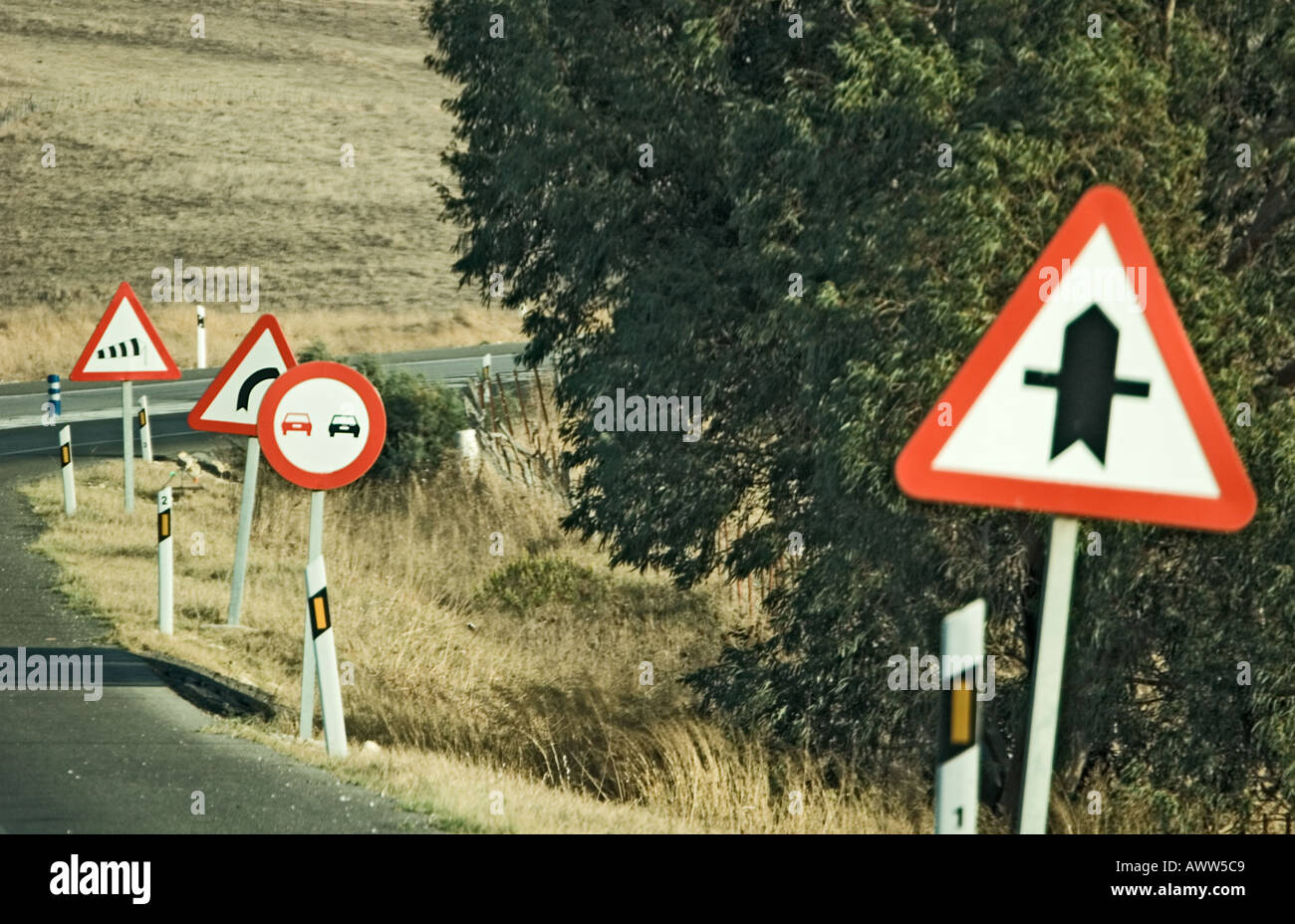 Road Furniture Traffic Signs In Andalusia Spain Stock Photo - Road sign furniture
