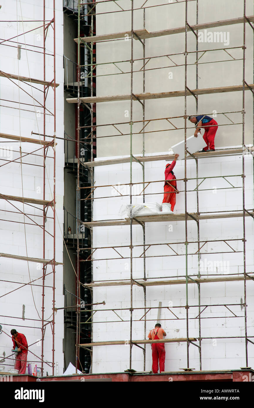 scaffold workers scafold abstract scafolder construct build scaffold workers scafold abstract scafolder construct build building new office block helmet builder equipment safety stock