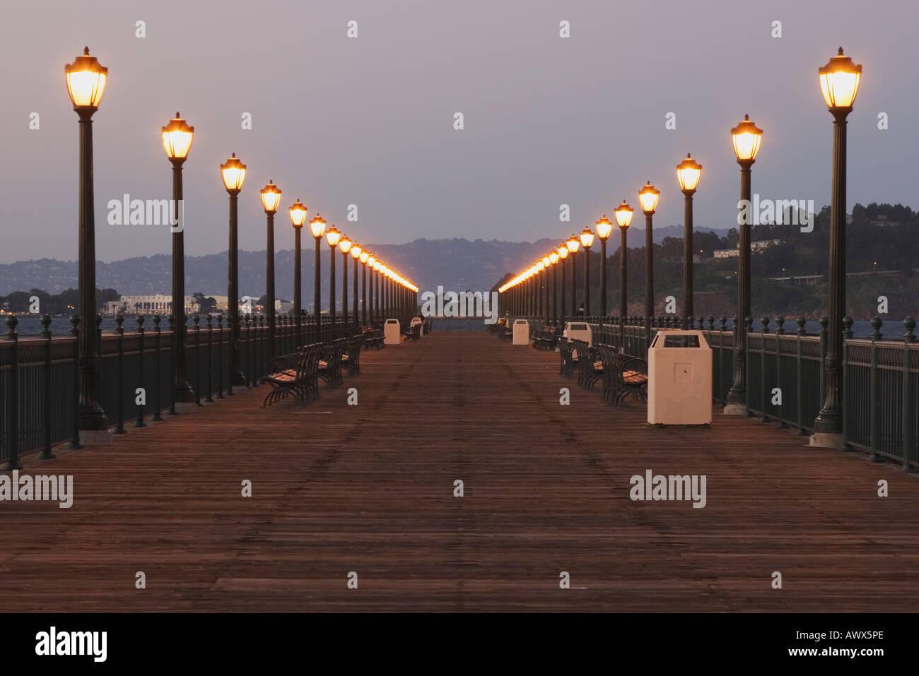 Lamps On Pier 7 During Dusk At The San Francisco Waterfront San Francisco California Usa