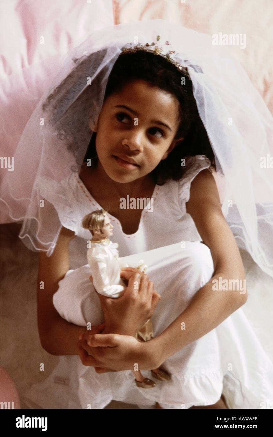 Little Black Girl Dreaming Of Her Wedding Day With Her Prince
