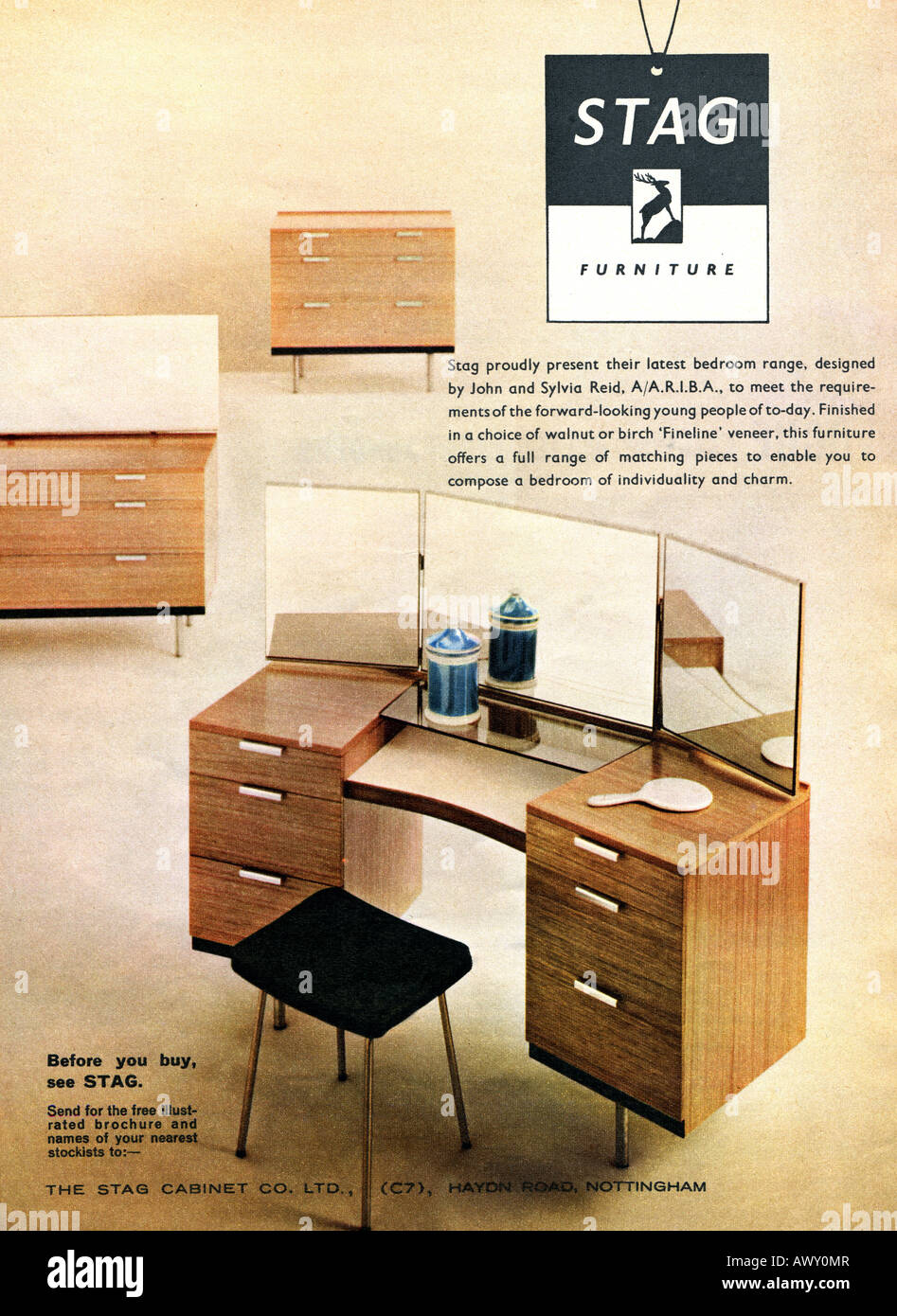 1961 Magazine Advertisement For Stag Furniture For Editorial Use Only