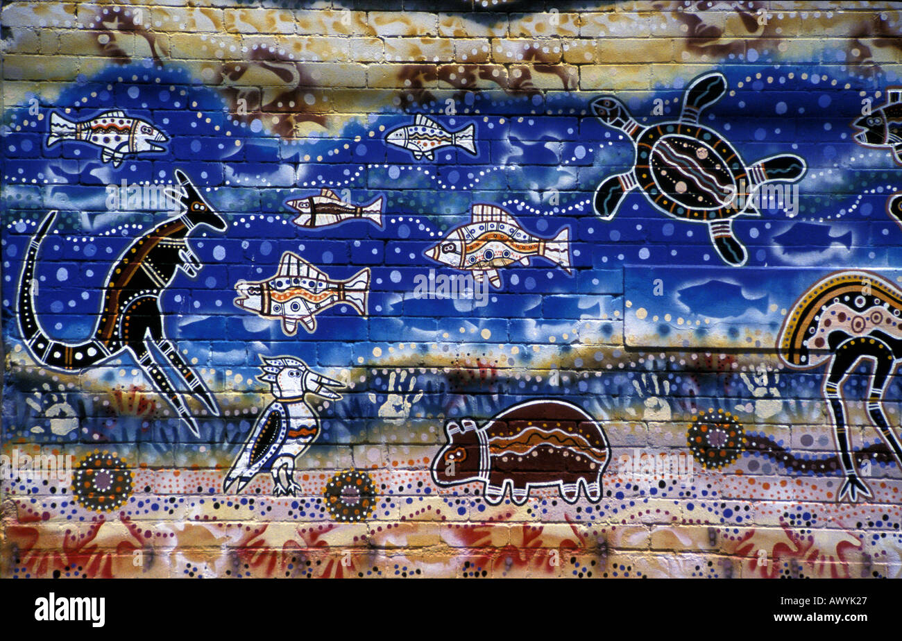 Australian aboriginal art wall mural painted by danny and for Australian mural