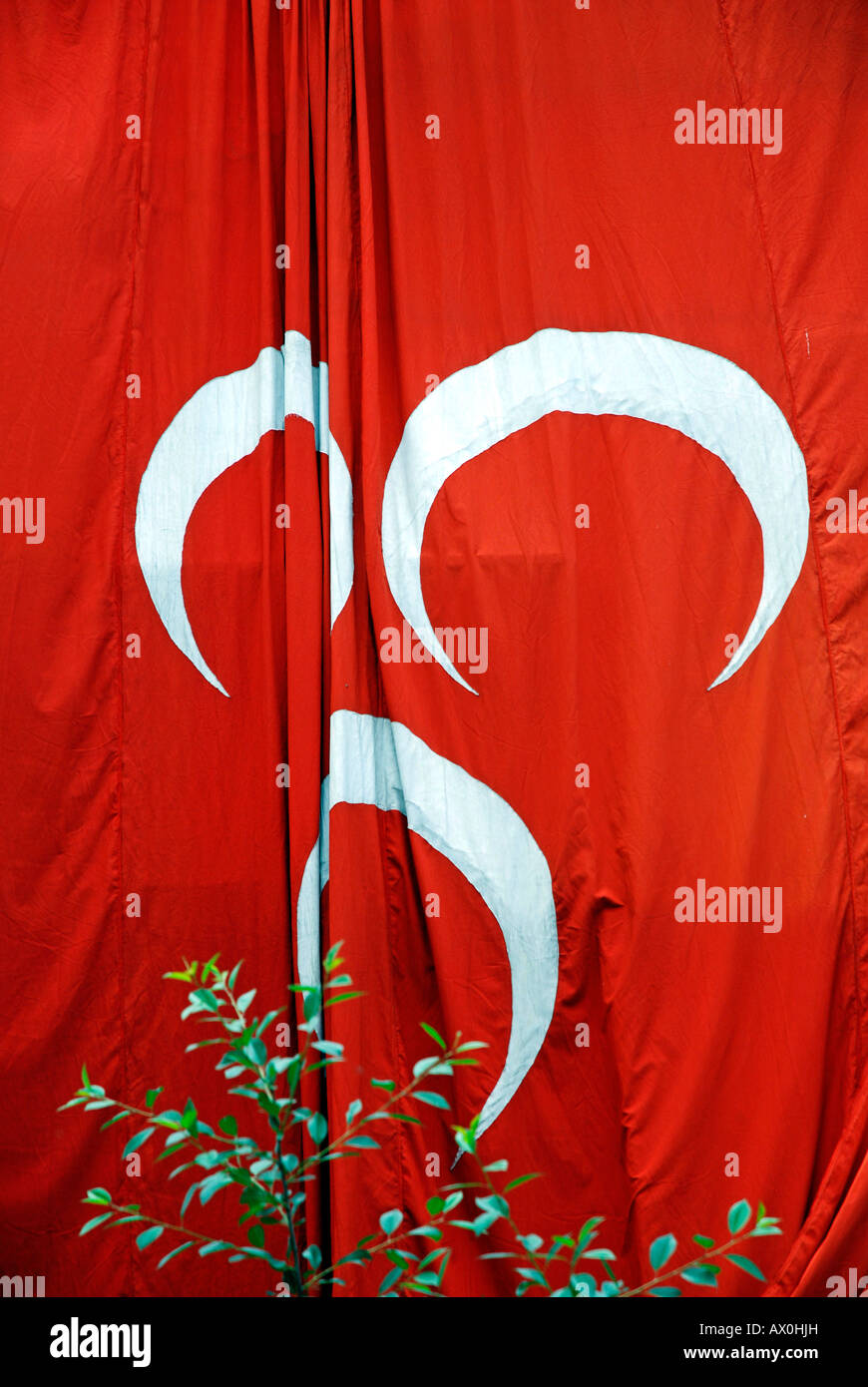 Flag with three crescent moons symbol of the right wing mhp stock flag with three crescent moons symbol of the right wing mhp erzurum anatolia turkey biocorpaavc Gallery