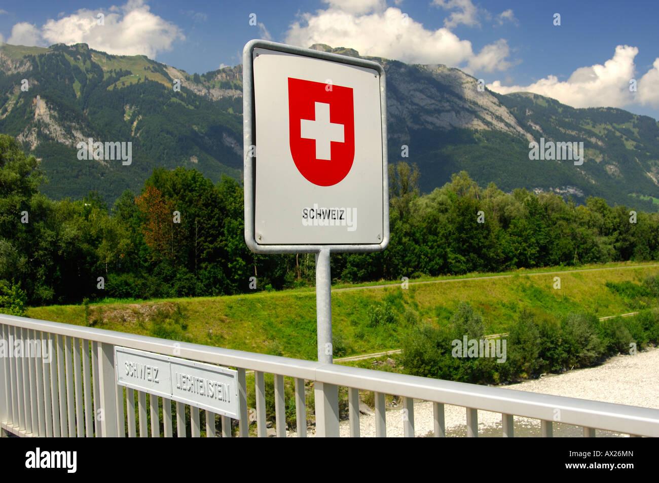 Swiss Border Sign On The Rhine River Bridge National Border Stock - Swiss river to the rhine