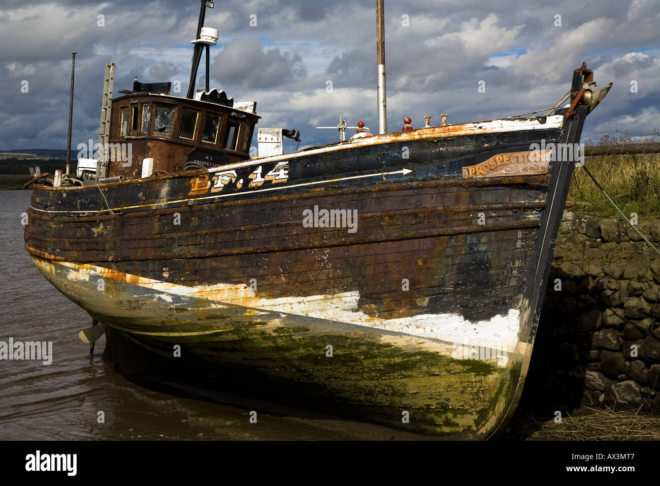 Derelict Old Wooden Fishing Boat Fife Scotland August 2006 Stock Photo ...