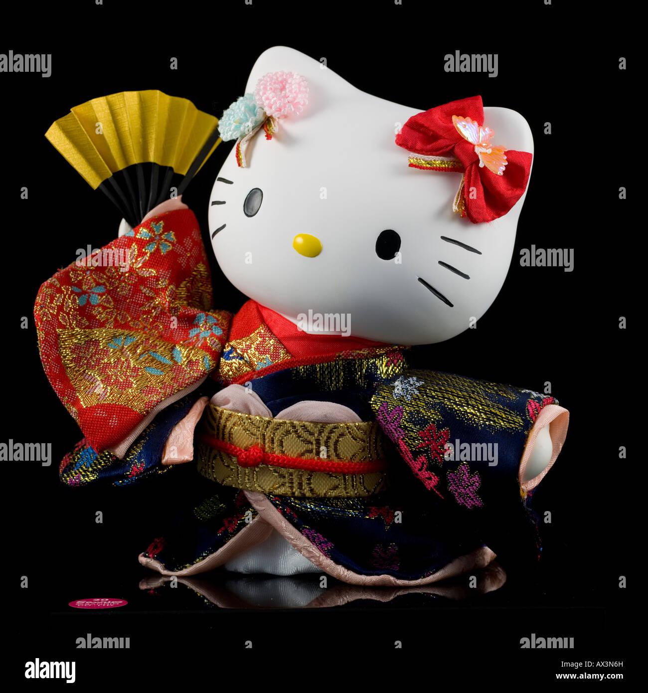 Japanese Hello Kitty Toys : Japanese toy hello kitty with traditional kimono stock
