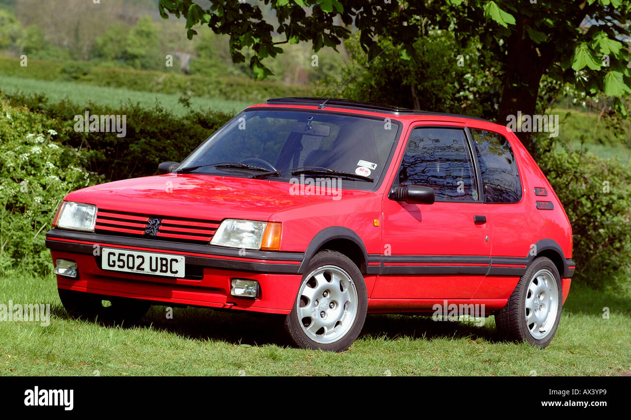 peugeot 205 gti 1 9 1990 hot hatch car stock photo royalty free image 9554856 alamy. Black Bedroom Furniture Sets. Home Design Ideas