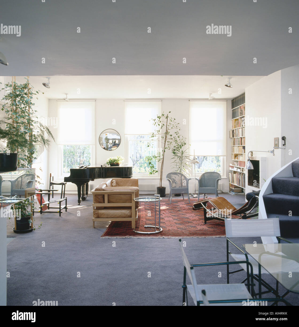 Wonderful Grand Piano And Classic Twentieth Century Modern Furniture In Open Plan  Seventies Living Room With Grey Carpet