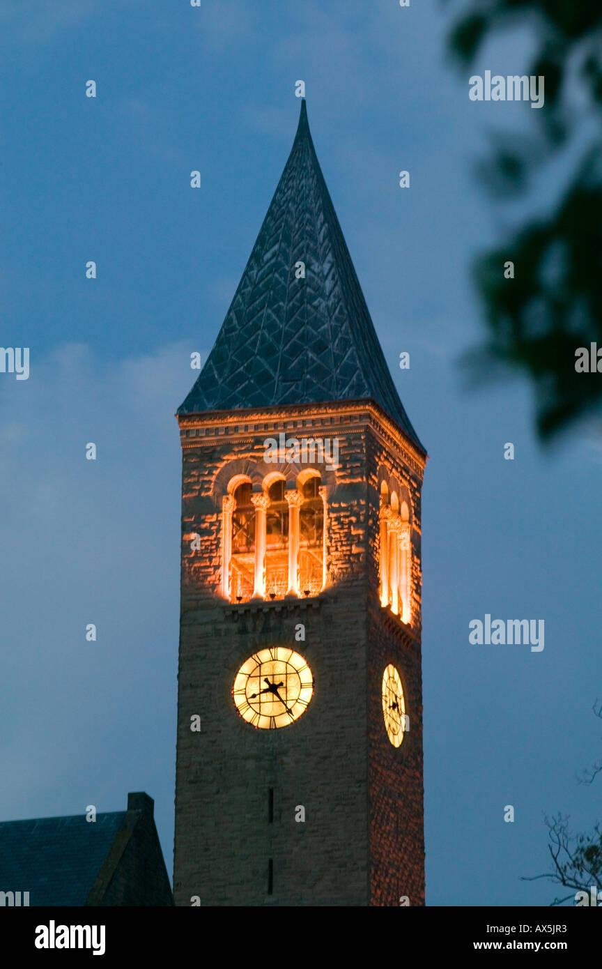 New york tompkins county ithaca 14850 -  Mcgraw Hall Clock Tower Cornell University Ithaca New York Tompkins County Stock Photo