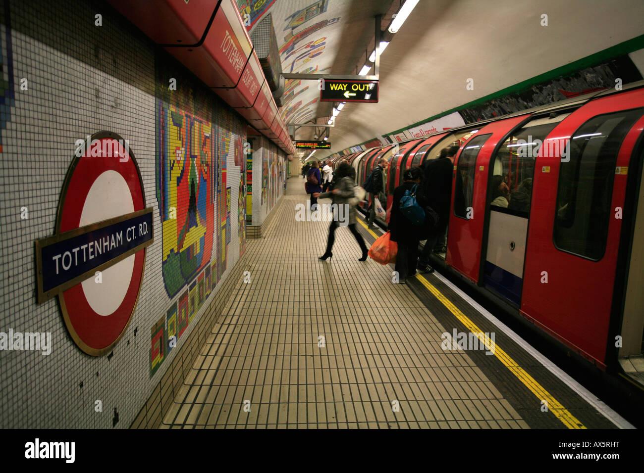 Artistic tiles, train arriving at Tottenham Court Road underground ...