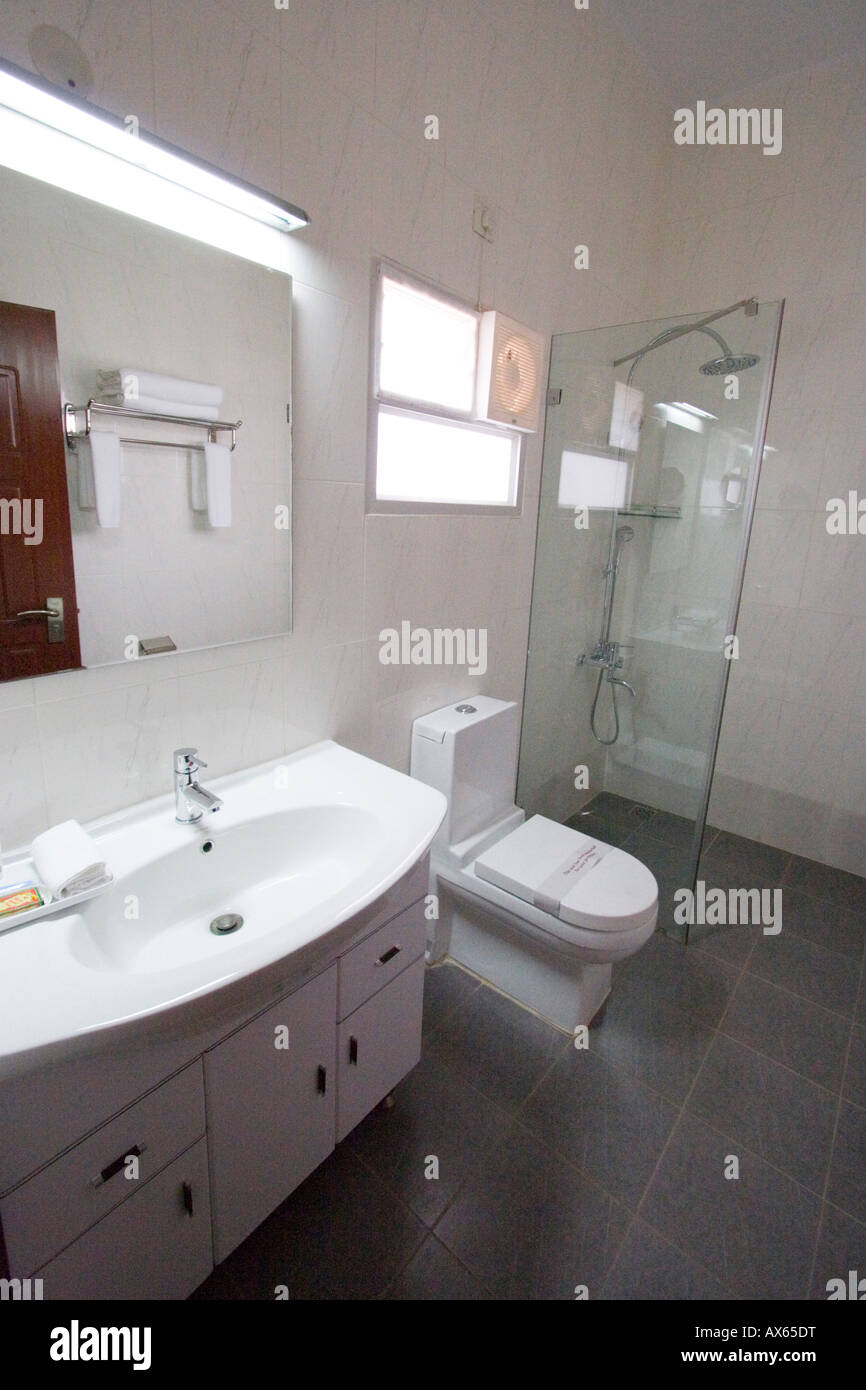 Ultra Modern Bathroom Suite Toilet Sink And Shower In Luxury Indian Stock Photo Royalty Free